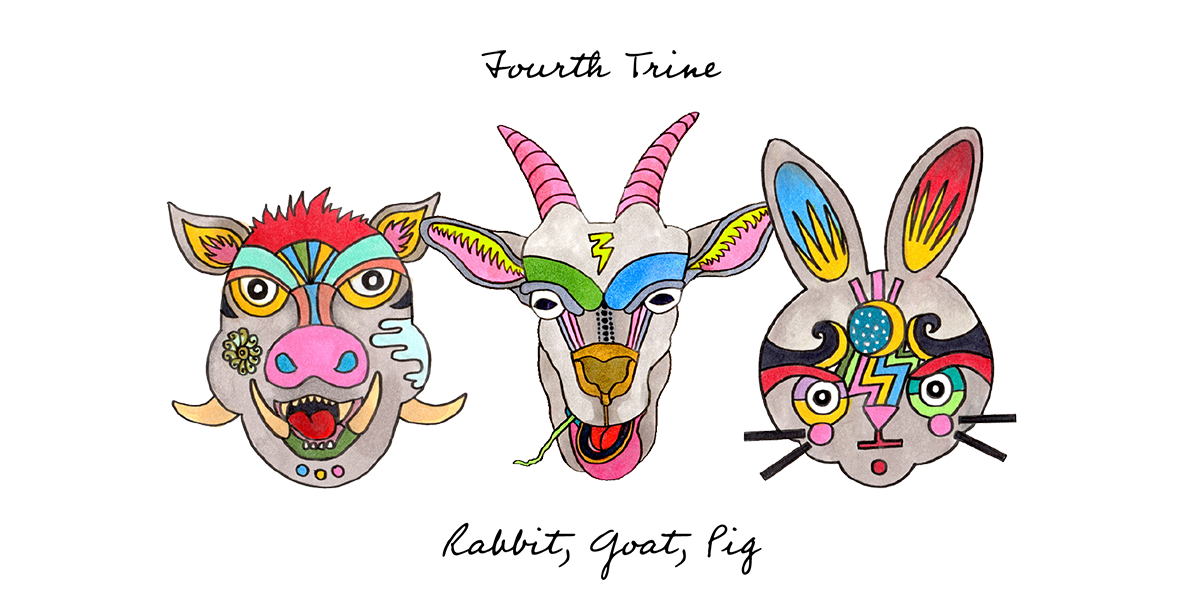 Fourth Kindred Trine: Rabbit, Goat, Pig