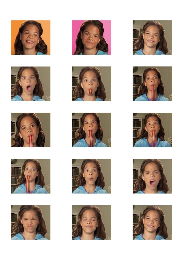A film contact sheet from a commercial: 5 rows of 3 columns display frames of the writer as a young girl eating a Yogos Roller.